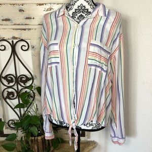 So white colorful striped tie front button up